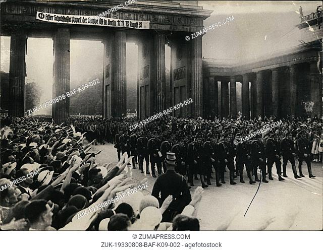 Aug. 08, 1933 - 10,000 Nazi soldiers from special brigades paraded in Berlin in front of a huge crowd gathered along their route from Doeberitz to Berlin
