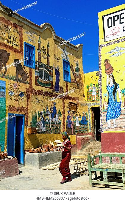 Egypt, Upper Egypt, Nile Valley, surroundings of Luxor, West Thebes, Qurna, painted house