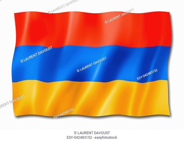 Armenia flag, three dimensional render, isolated on white