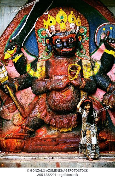 Kali statue Kali Bhairava  Dating from the 17th century  Durbar Square  Kathmandu  Nepal  Himalaya  South Asia