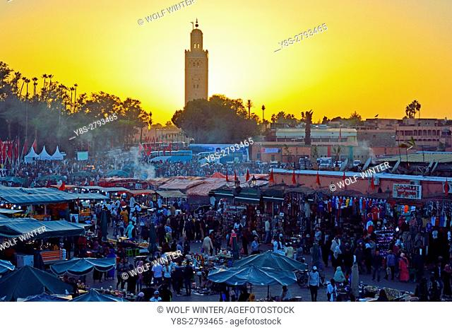 Place Djema el Fna at sunset. Marakesh, Morocco