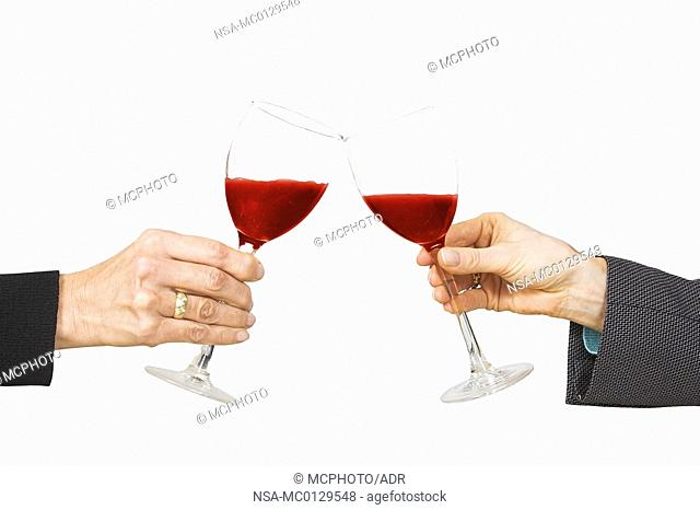 business celebration - red wine cheers