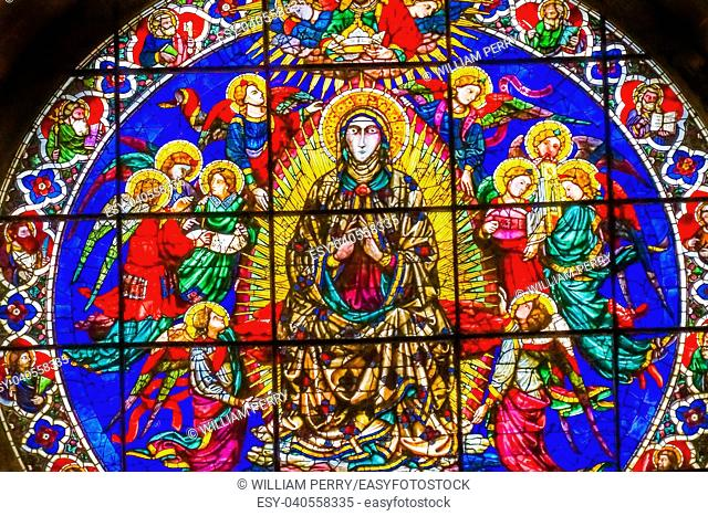 Rose Window Virgin Mary Angels by Lorenzo Ghiberti 1405 Stained Glass Duomo Cathedral Church Florence Italy