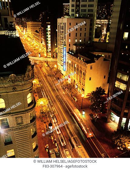 Market Street with BART entrance, Union Square in upper right, San Francisco, CA, USA