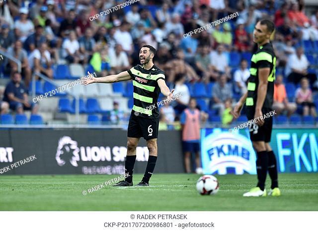 Roberto Lopes (Shamrock), left, after the lost match, the 2nd qualifying round of football European league, 2nd leg Mlada Boleslav vs Shamrock Rovers in Mlada...