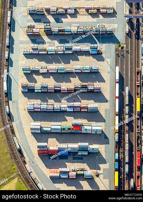 Aerial shots, Duisport, Duisburger harbour, logistics, goods transport, gas container, turnover of goods, inland ship journey, Kasslerfeld, Duisburg, Ruhr area