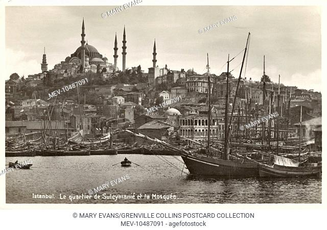 The Suleymaniye Mosque viewed from the Golden Horn, Istanbul, Turkey