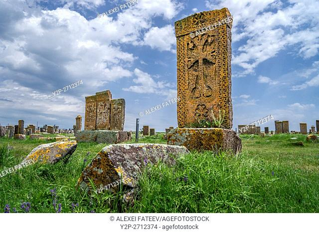 An ensemble of khachkars (stone crosses) at medieval Noratus cemetry in Armenia