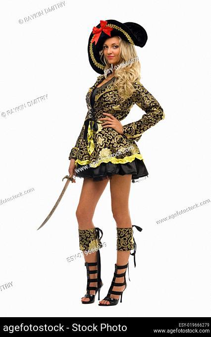 Woman in carnival costume. Pirate shape