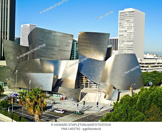Walt Disney Concert Hall designed by architect Frank Gehry and Los Angeles skyline. Los Angeles, California U S A