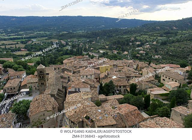 View of the tiled rooftops of Moustiers-Sainte-Marie, a medieval village in Alpes-de-Haute-Provence region in southern France