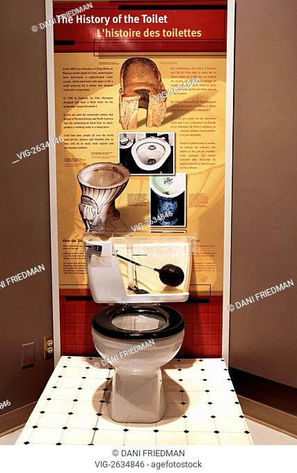 An exhibit showcasing the history of the toilet in a small museum in Ontario, Canada. - ST. CATHARINES, ONTARIO, CANADA, 21/05/2011