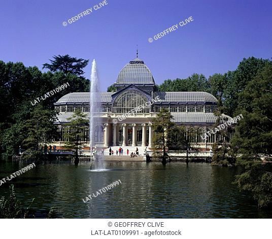 The Jardines del Buen Retiro or Parque del Buen Retiro is the main park in Madrid. The Palacio de Cristal was built in 1887