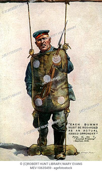 First World War patriotic postcard, showing an imaginary German soldier standing behind the 'dummy' used for bayonet practice