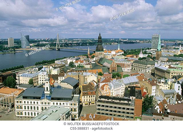 Castle and Dom cathedral, view on old town from St. Peter's church. Riga, Latvia