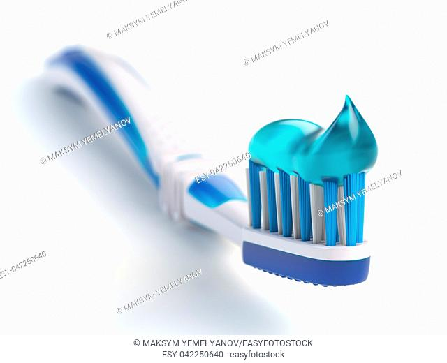 Toothbrush with paste isolated on white background. 3d illustration