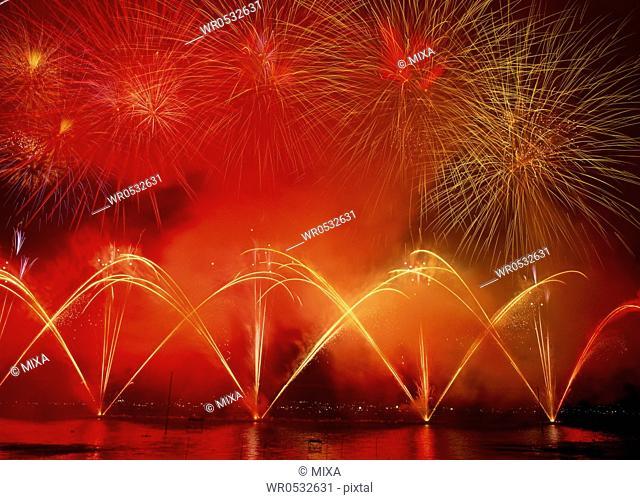 Fireworks at Lake Suwa, Suwa, Nagano, Japan