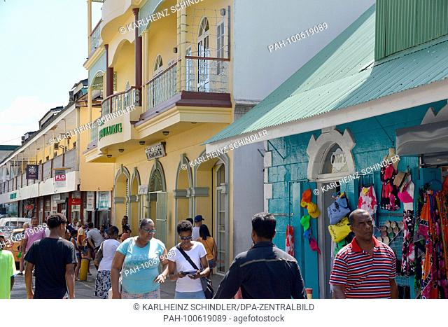 22 January 2018, Seychelles, Victoria: A view of Lodge Street, the main shopping street in Victoria, capital of the Seychelles, on the island of Mahe