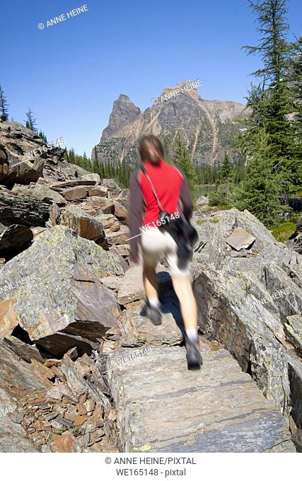 Female hiker motion blurred walking up a trail in scenic rocky mountains. Lake O`Hara area, Yoho National Park, British Columbia, Canada