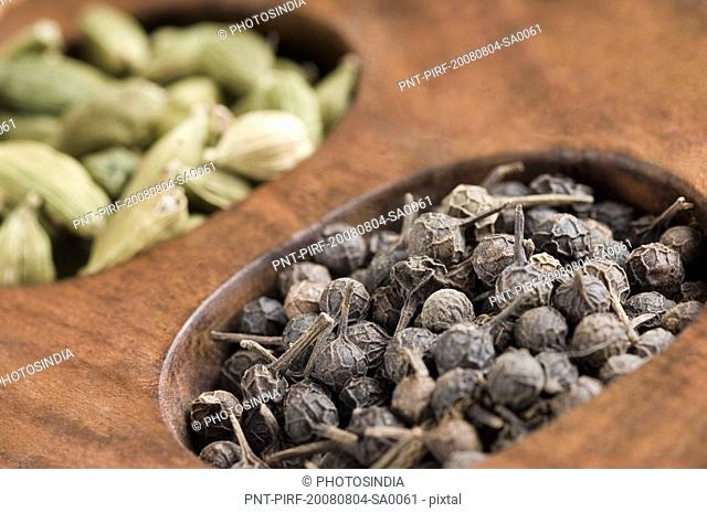 Close-up of black peppercorn in a spice container