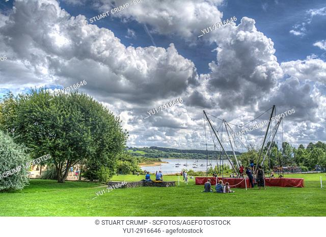 HDR image of a child's bungee jumping cord at Carsington Water Derbyshire UK