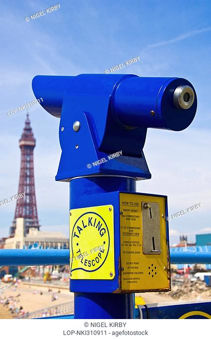 England, Lancashire, Blackpool, A talking telescope on the seafront from which great views of the Blackpool tower can be enjoyed