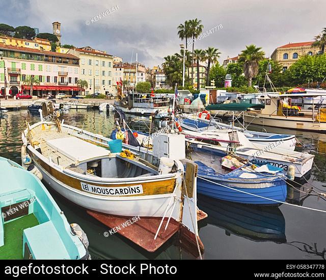 Cannes, Cote d'Azur, French Riviera, Provence, France. La Suquet harbour. The old town