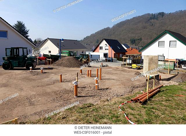 Germany, Rhineland-Palatinate, house building, earth works, pipes
