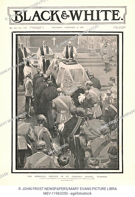 1901 Black & White Queen Victoria's Funeral at St George's Chapel, Windsor