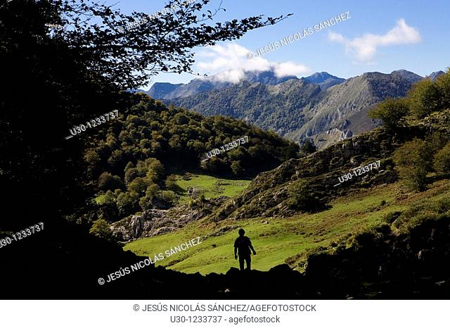 People practice mountaineering in the Cornion massif, in the Picos de Europa National Park, Sajambre Valley, Leon, Castilla y Leon  Spain