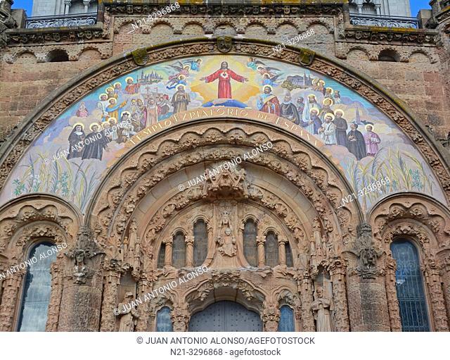 The Sacred Heart of Jesus Church main entrance. Tibidabo Mountain, Collserola mountain range, Barcelona, Catalonia, Spain, Europe