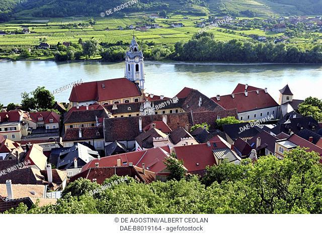 View of Durnstein from the castle hill, Wachau Cultural Landscape (UNESCO World Heritage List, 2000), Lower Austria, Austria