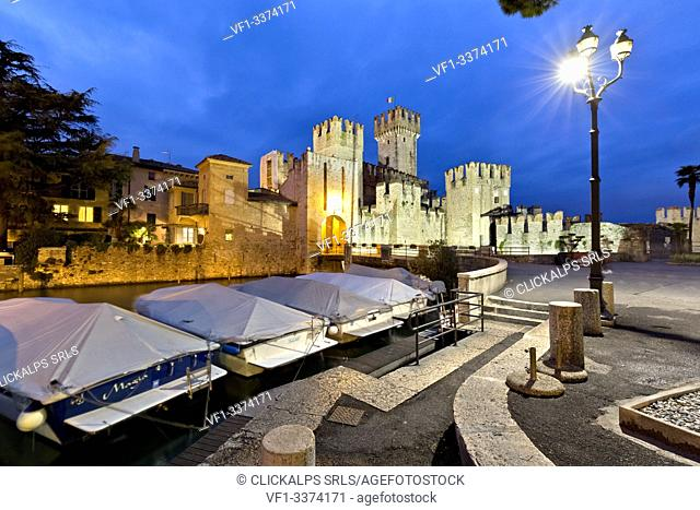 Evening at the Scaligero castle in Sirmione. Lake Garda, Brescia province, Lombardy, Italy, Europe