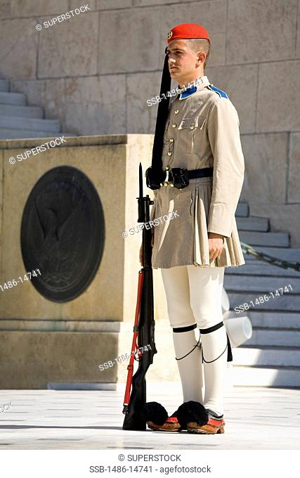 Royal guard at a monument, Tomb of The Unknown Soldier, Syntagma Square, Athens, Greece