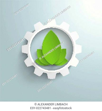 Big Eco Gear With Green Leaves PiAd