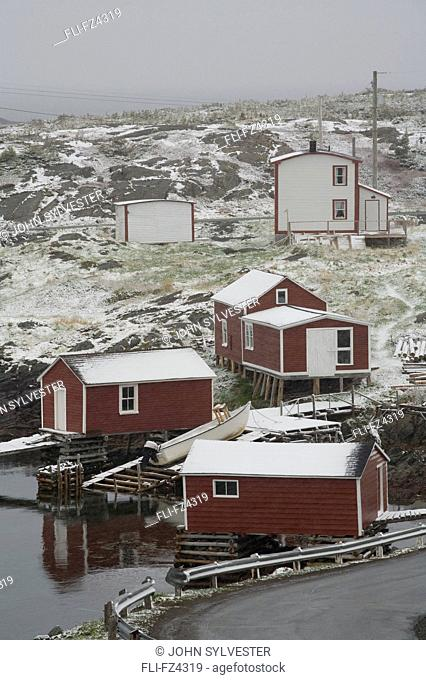 Spring snowfall, Change Islands, Newfoundland & Labrador