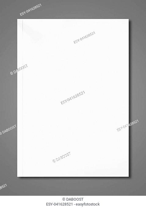 White booklet cover isolated on dark grey background, mockup template