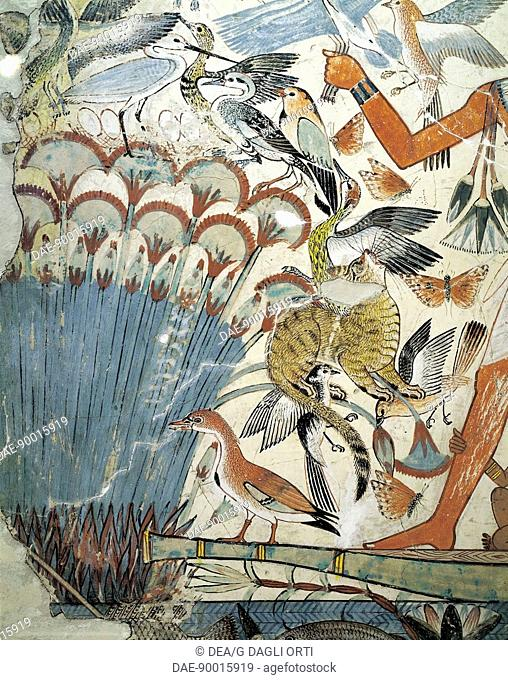 Egyptian civilization, New Kingdom, Dynasty XVIII. Fresco with a hunting scene from the Tomb of Nebamun at Thebes. Detail.  London, British Museum