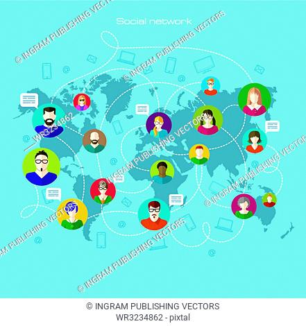 Global communication. Internet and education. Infographics. Flat and line icons