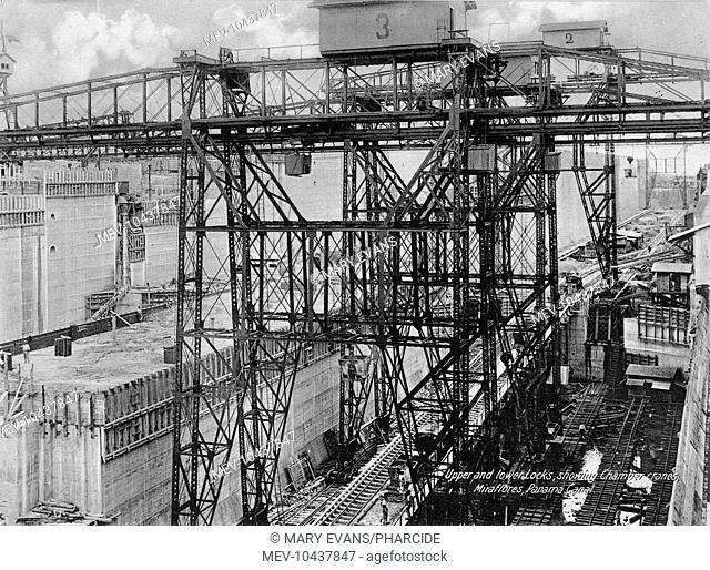 Upper and lower locks, showing chamber cranes, Miraflores, Panama Canal