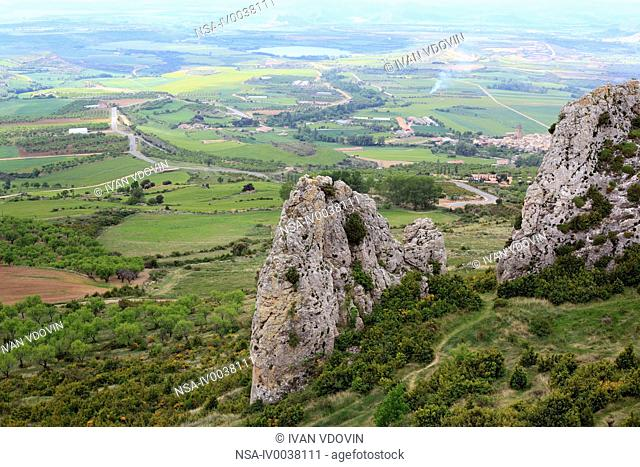 View of valley from the Loarre Castle, Aragon, Spain