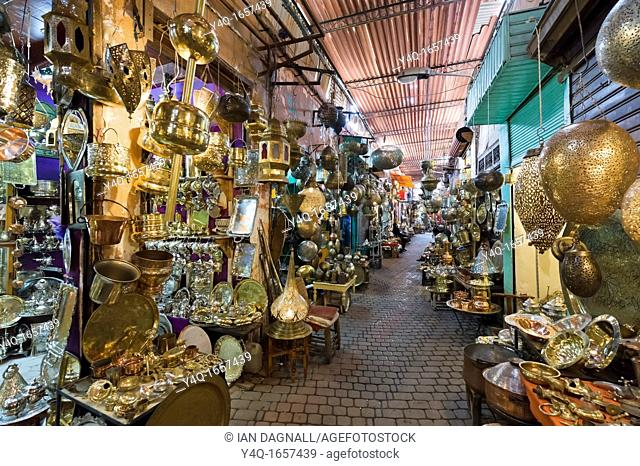 Shops selling metalwork in the souks, Medina district, Marrakech, Morocco, North Africa