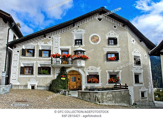 Typical Engadine house at the La Plazetta square, Scuol, Engadine, Graubunden, Grisons, Switzerland