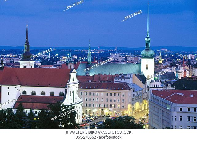 Churches of Saint Thomas (left) and Saint James (right). Brno. South Moravia. Czech Republic