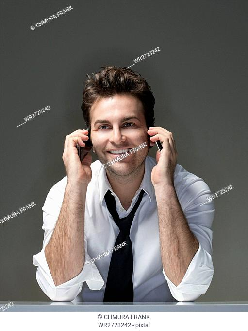 adult, casual, Caucasian, cell, cell phone, face, guy, handsome, human, isolated, male, man, mobile, one, person, phone, portrait, single, shirt, smile, smiling