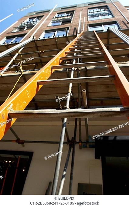 View looking up a ladder fastened to scaffolding