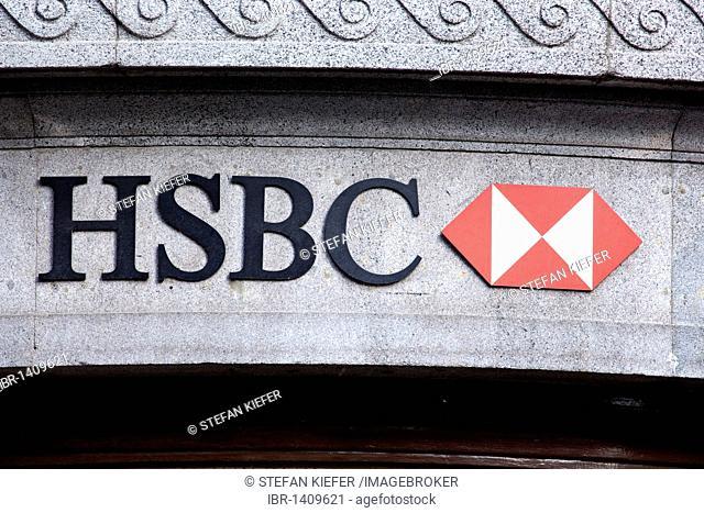 Logo of the HSBC bank in London, England, United Kingdom, Europe