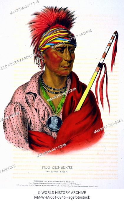 Not-Chi-Mi-Ne an Ioway chief wearing earrings and a portrait medallion around his neck. The Ioway (Iowa) are a Native American Siouan people who live either in...