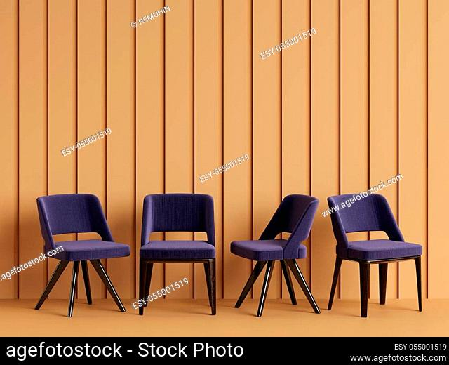 Blue chairs are standing in an empty yellow room with relief stripes on the wall. Concept of minimalism. 3d rendering mock up