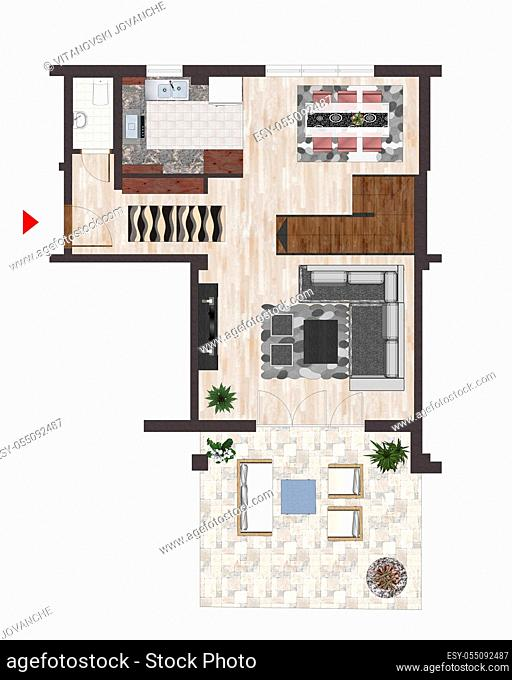 Architectural plan drawings with editing marks